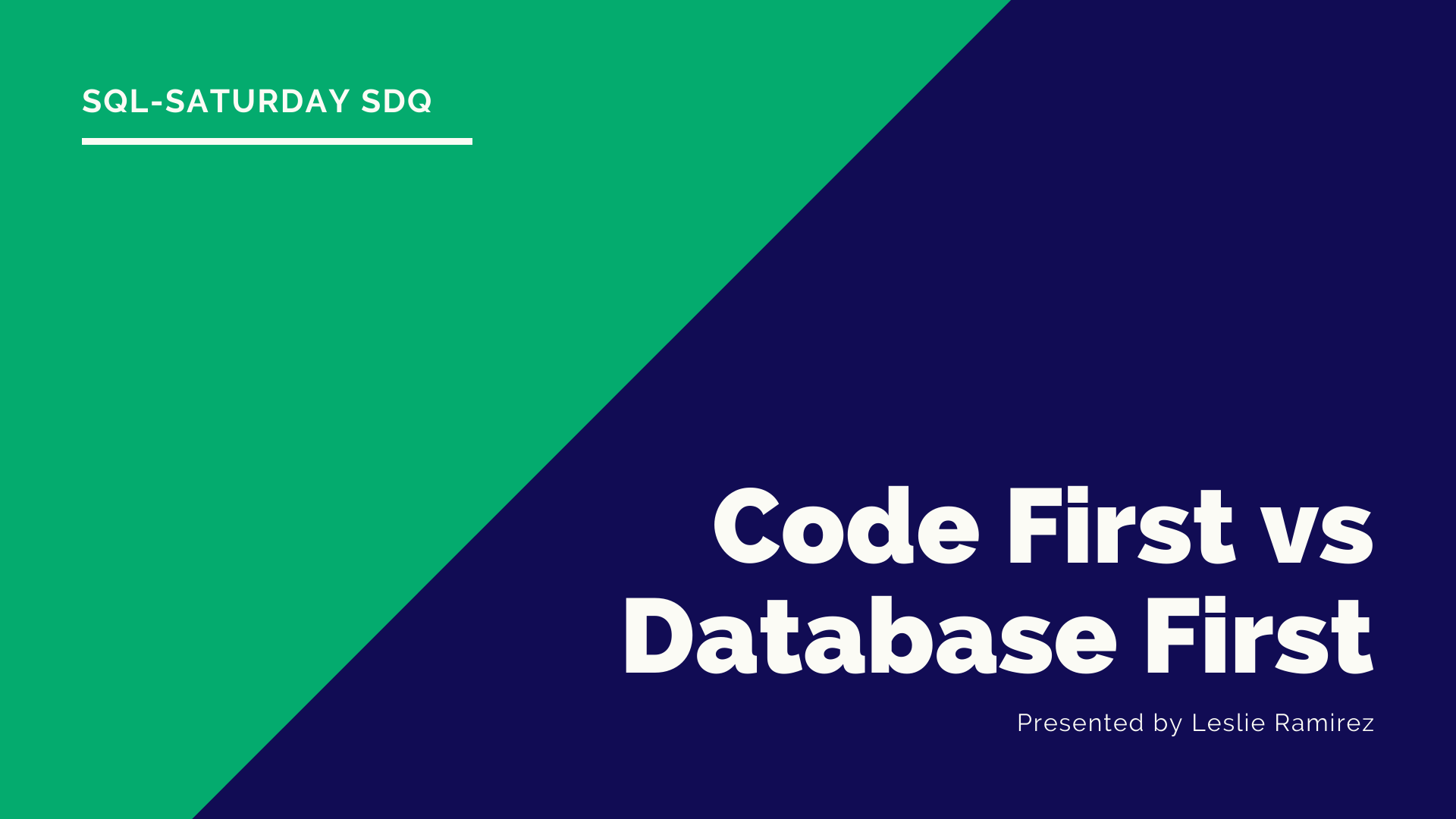 Database First versus Code First